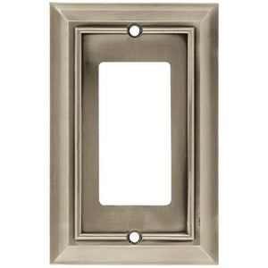 Hampton Bay Architectural Decorative Single Rocker Switch Plate, Satin Nickel Damaged Box-outlets, switches, & plates-Tool Mart Inc.