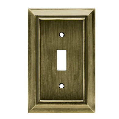 Hampton Bay Architectural Decorative Single Switch Plate, Antique Brass Damaged Box-outlets, switches, & plates-Tool Mart Inc.