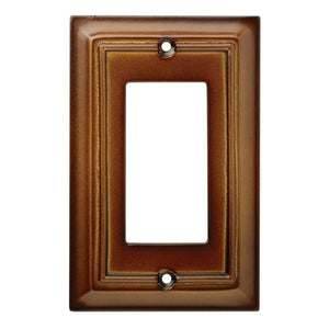 Hampton Bay Architectural Wood Decorative Single Rocker Switch Plate, Saddle Damaged Box-outlets, switches, & plates-Tool Mart Inc.