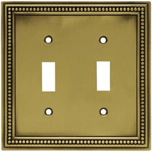 Hampton Bay Beaded Decorative Double Switch Plate, Tumbled Antique Brass Damaged Box-outlets, switches, & plates-Tool Mart Inc.