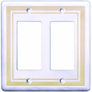 Hampton Bay Cast Stone Finish, 2-Gang Rocker Light Switch/GFCI Cover Plate Damaged Box-outlets, switches, & plates-Tool Mart Inc.