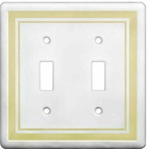 Hampton Bay Cast Stone Finish 2-Gang Toggle Light Switch Cover Plate Damaged Box-outlets, switches, & plates-Tool Mart Inc.