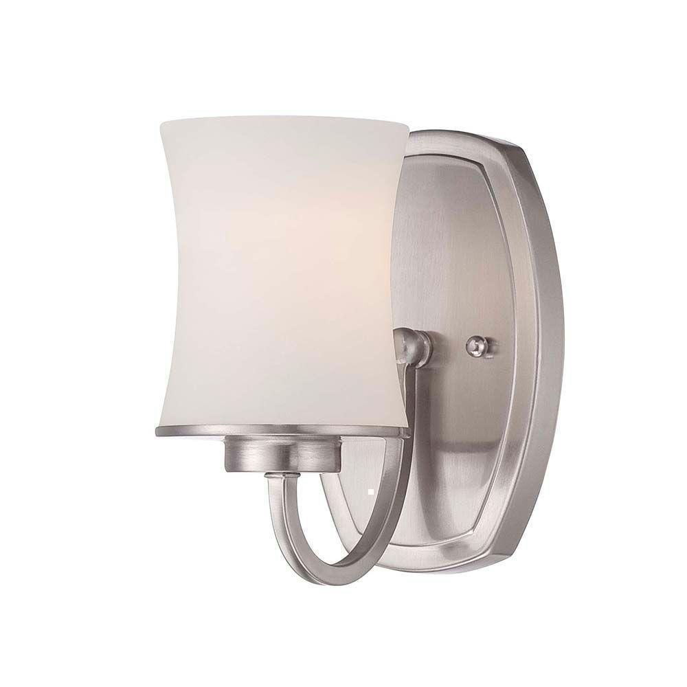Hampton Bay Chaplinne 1-Light Satin Nickel Sconce with Frosted White Shade Damaged Box-sconces & wall fixtures-Tool Mart Inc.