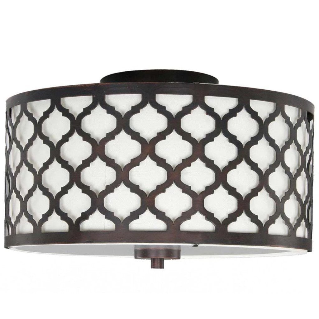 Hampton Bay Edgemoor 13 in. 2-Light Oil-Rubbed Bronze Semi-Flush Mount with Fabric and Laser Cut Drum Shade Damaged Box-light-Tool Mart Inc.