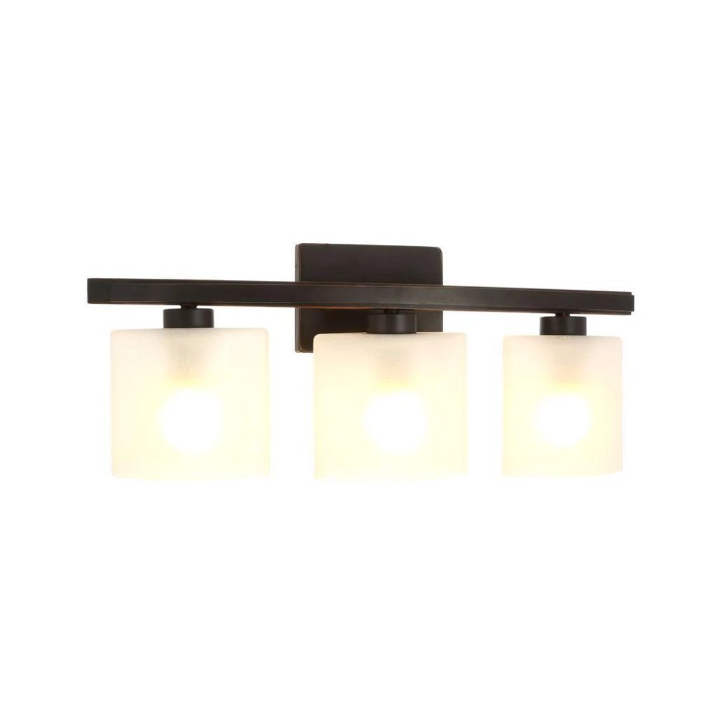Hampton Bay Ettrick 3-Light Oil-Rubbed Bronze Sconce with Hand Pained Glass Shades Damaged Box-light-Tool Mart Inc.