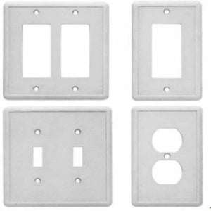 Hampton Bay Gray Decorator Wall Plate Stone Grey Finish 2-toggle Outlet Cover Damaged Box-outlets, switches, & plates-Tool Mart Inc.