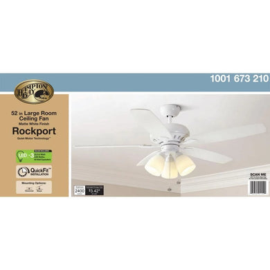 Hampton Bay Rockport 52 in. LED Matte White Ceiling Fan with Light Kit Damaged Box-ceiling fixtures & fans-Tool Mart Inc.