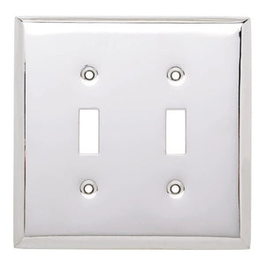 Hampton Bay Stamped Square Decorative Double Switch Plate, Polished Chrome Damaged Box-outlets, switches, & plates-Tool Mart Inc.