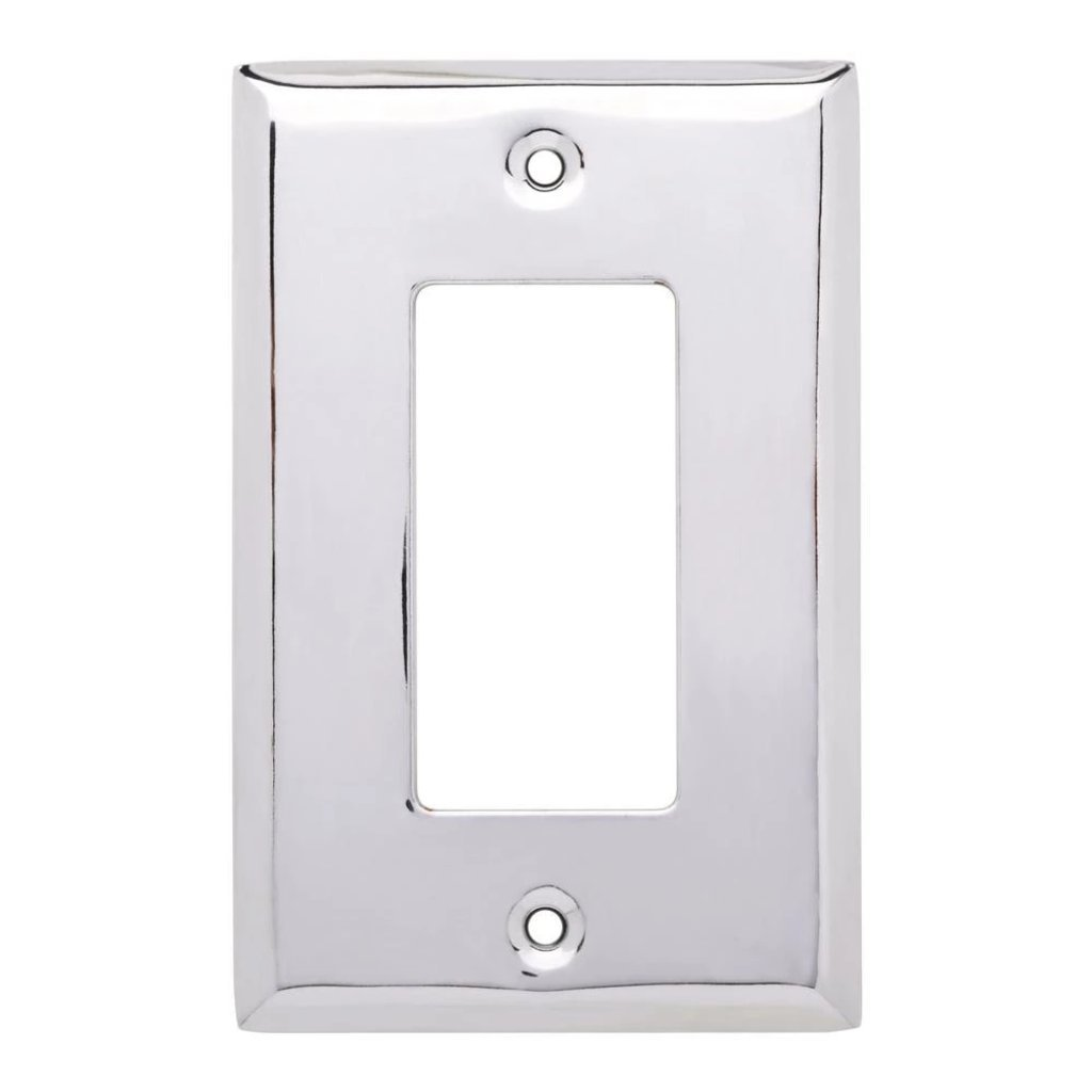 Hampton Bay Stamped Square Decorative Single Rocker Switch Plate, Polished Chrome Damaged Box-outlets, switches, & plates-Tool Mart Inc.