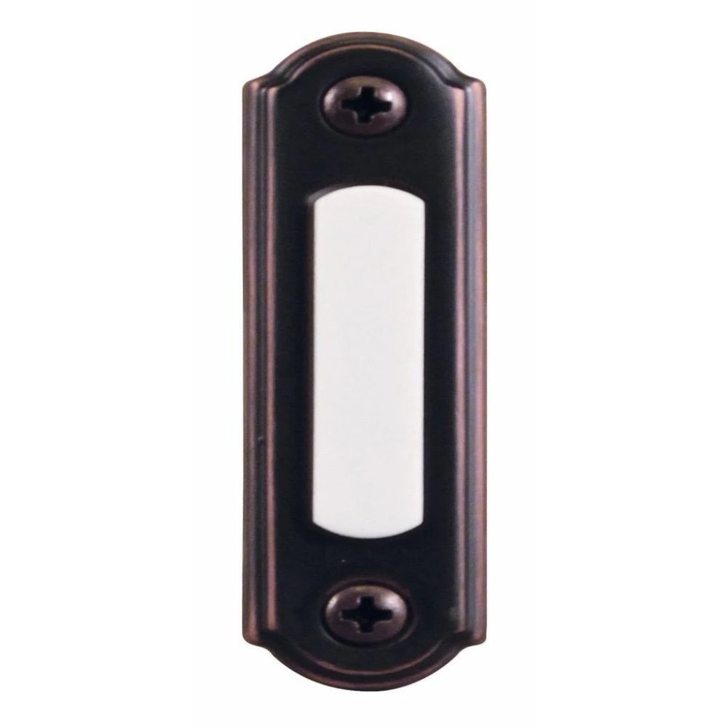 Hampton Bay Wired Lighted Door Bell Push Button, Mediterranean Bronze Damaged Box-doorbells & clickers-Tool Mart Inc.