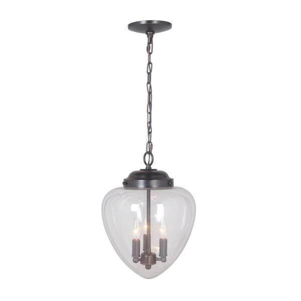 Hardwired Pendant Series 3-Lights Brushed Bronze Mini Chandelier with Clear Shade Damaged Box-Lighting-Tool Mart Inc.