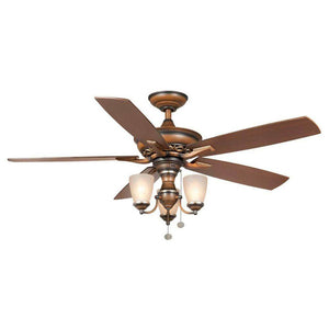 Havenville indoor berre walnut ceiling fan with light kit damaged box-ceiling fixtures & fans-Tool Mart Inc.