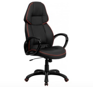 High Back Black Vinyl Executive Swivel Chair with Red Piping and Arms-furniture-Tool Mart Inc.