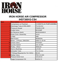 Iron Horse 80 Gallon Two-Stage Air Compressor 460 Volt 3 Phase-iron horse air compressors-Tool Mart Inc.