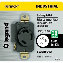 Legrand Pass and Seymour 30 Amp 250-Volt 3-Wire Grounding Locking Single Outlet - Black Damaged Box-outlets, switches, & plates-Tool Mart Inc.