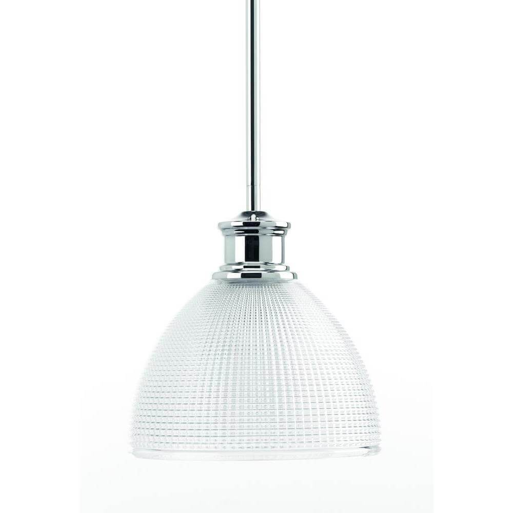 Lucky collection polished chrome mini pendant with clear double prismatic glass damaged box-light-Tool Mart Inc.