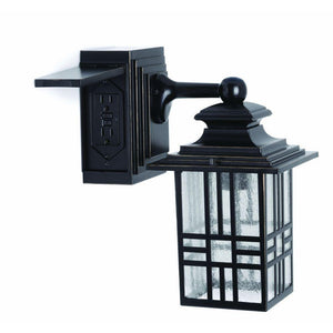 Mission Style Black with Bronze Highlight Outdoor Wall Lantern with Built-In Electrical Outlet (GFCI) Damaged Box-Lighting-Tool Mart Inc.