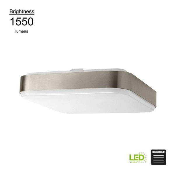 Modern Style 14 in. Square Brushed Nickel 100 Watt Equivalent Integrated LED Flush Mount (Bright/Cool White, Dimmable) Damaged Box-Lighting-Tool Mart Inc.