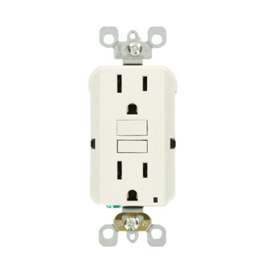 Leviton 15 Amp Self-Test SmartlockPro Slim Duplex GFCI Outlet, White Damaged Box