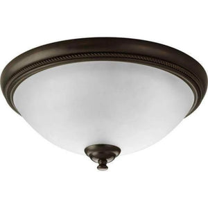 Pavilion Collection 15 in. 2-Light Antique Bronze Flush Mount with Etched Watermark Glass Bowl Damaged Box-Lighting-Tool Mart Inc.