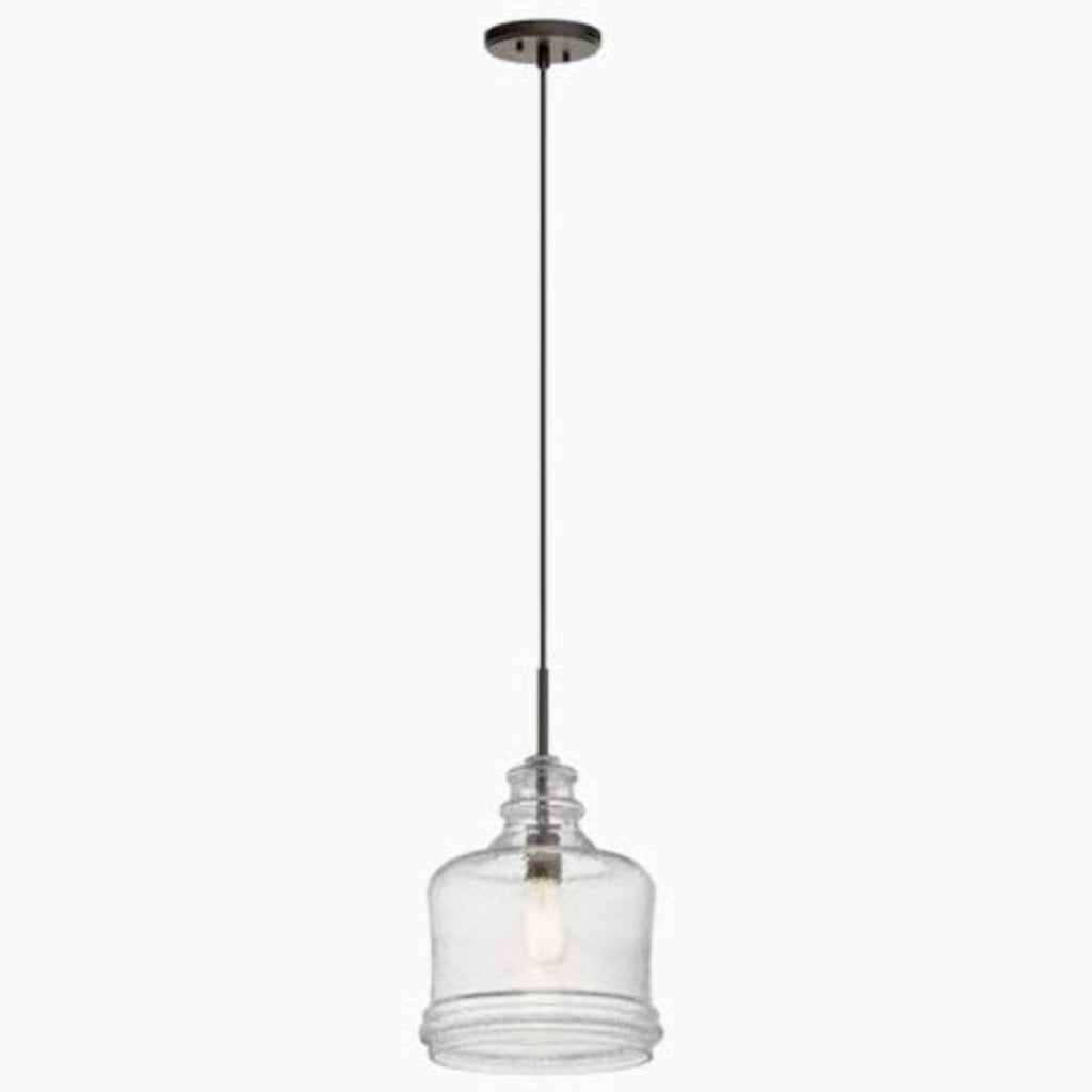 Kichler Oil Rubbed Bronze Glass Jar Pendant Light
