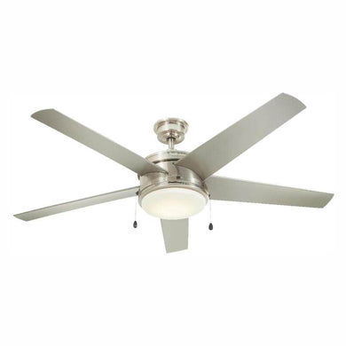 Portwood 60 in. LED Indoor/Outdoor Brushed Nickel Ceiling Fan damaged box-ceiling fixtures & fans-Tool Mart Inc.