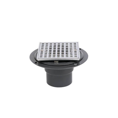 PVC Shower Drain with Chrome Barrel and Square 4-3/16 in. Chrome Strainer-OTHER ITEMS-Tool Mart Inc.