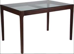 Rectangular Solid Walnut Wood Table with Clear Glass Top and Exposed Industrial Hardware-furniture-Tool Mart Inc.