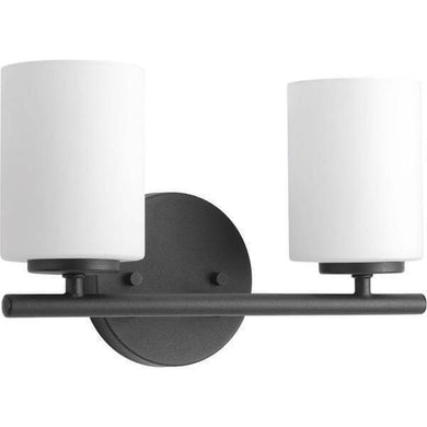 Replay 13 in. 2-Light Black Bathroom Vanity Light with Glass Shades Damaged Box-vanity lights-Tool Mart Inc.