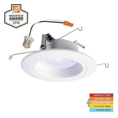 RL 5 Inch and 6 Inch White Integrated LED Recessed Ceiling Light Trim at Selectable CCT (2700K-5000K), (665 Lumens) Damaged Box-recessed fixtures-Tool Mart Inc.