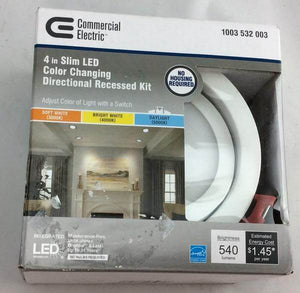 Slim Directional 4 in. Color Selectable Canless LED Recessed Kit Damaged Box-recessed fixtures-Tool Mart Inc.