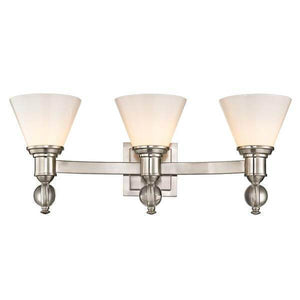 Sofia 3-Light Satin Nickel Sconce with Opal Glass Shades Damaged Box-vanity lights-Tool Mart Inc.