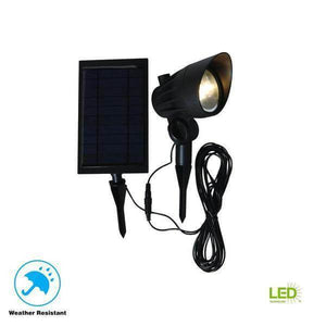 Solar Black Outdoor Integrated LED 3000K 70-Lumens Landscape Spot Light with Solar Panel and Wire Damaged Box-solar lights-Tool Mart Inc.