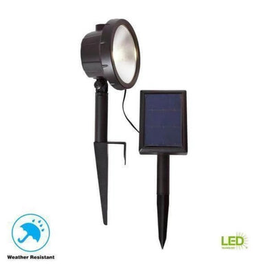 Solar Black Outdoor Integrated LED 3000K 75-Lumens Wall Wash Landscape Light Damaged Box-solar lights-Tool Mart Inc.