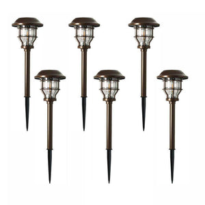 Solar brass outdoor integrated vintage bulb landscape pathway light set damaged box-solar lights-Tool Mart Inc.