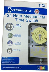 T103 Series 40 Amp 125-Volt DPST 24-Hour Mechanical Time Switch with Indoor Enclosure Damaged Box-outlets, switches, & plates-Tool Mart Inc.
