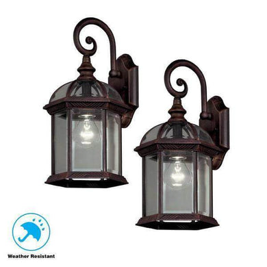 Twin Pack 1-Light Weathered Bronze Outdoor Lantern Damaged Box-outdoor lighting-Tool Mart Inc.