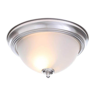 Two-light brushed nickel flush mount with frosted glass shade damaged box-Lighting-Tool Mart Inc.