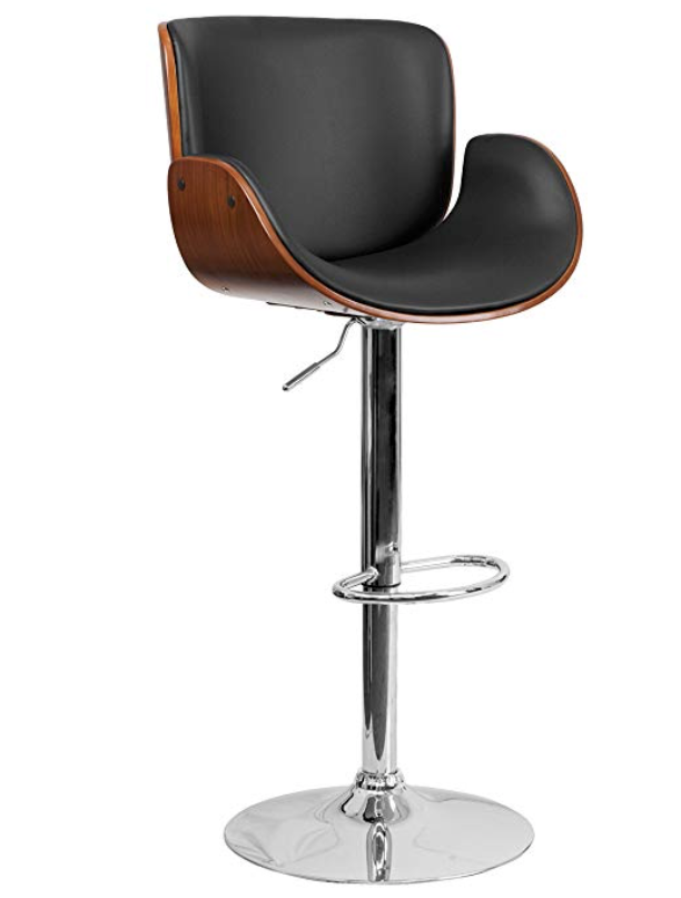 Walnut Bentwood Adjustable Height Barstool with Curved Black Vinyl Seat-furniture-Tool Mart Inc.
