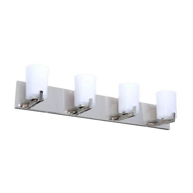 Wellman 4-Light Polished Nickel Vanity Light with Etched White Glass Shades Damaged Box-vanity lights-Tool Mart Inc.