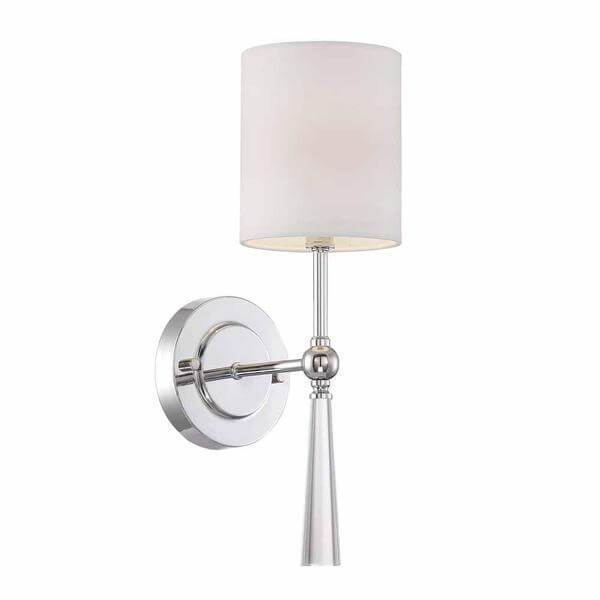 White Fabric 1-Light Chrome Wall Sconce Damaged Box-sconces & wall fixtures-Tool Mart Inc.