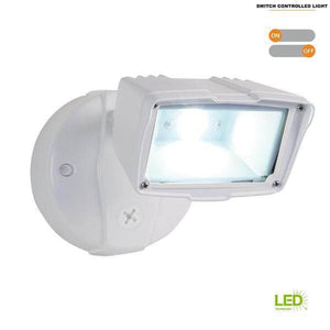 White Outdoor Integrated LED Small-Head Security Flood Light with 1475 Lumens, 5000K Daylight, Switch Controlled Damaged Box-security & motion sensor lights-Tool Mart Inc.