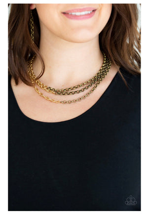Metro Madness Brass Necklace