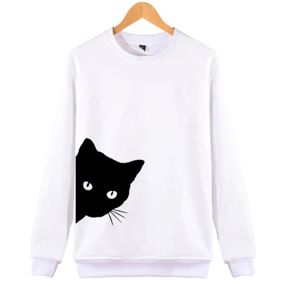 Black Cat Long Sleeve Pullover - Moonbeam Distribution
