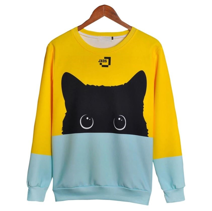 Cute Black Cat 3D Print Unisex Androgynous Pullover - Moonbeam Distribution