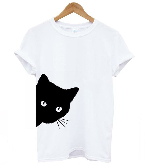 White Tee with Black Cat Cute Cat Eyes - Moonbeam Distribution