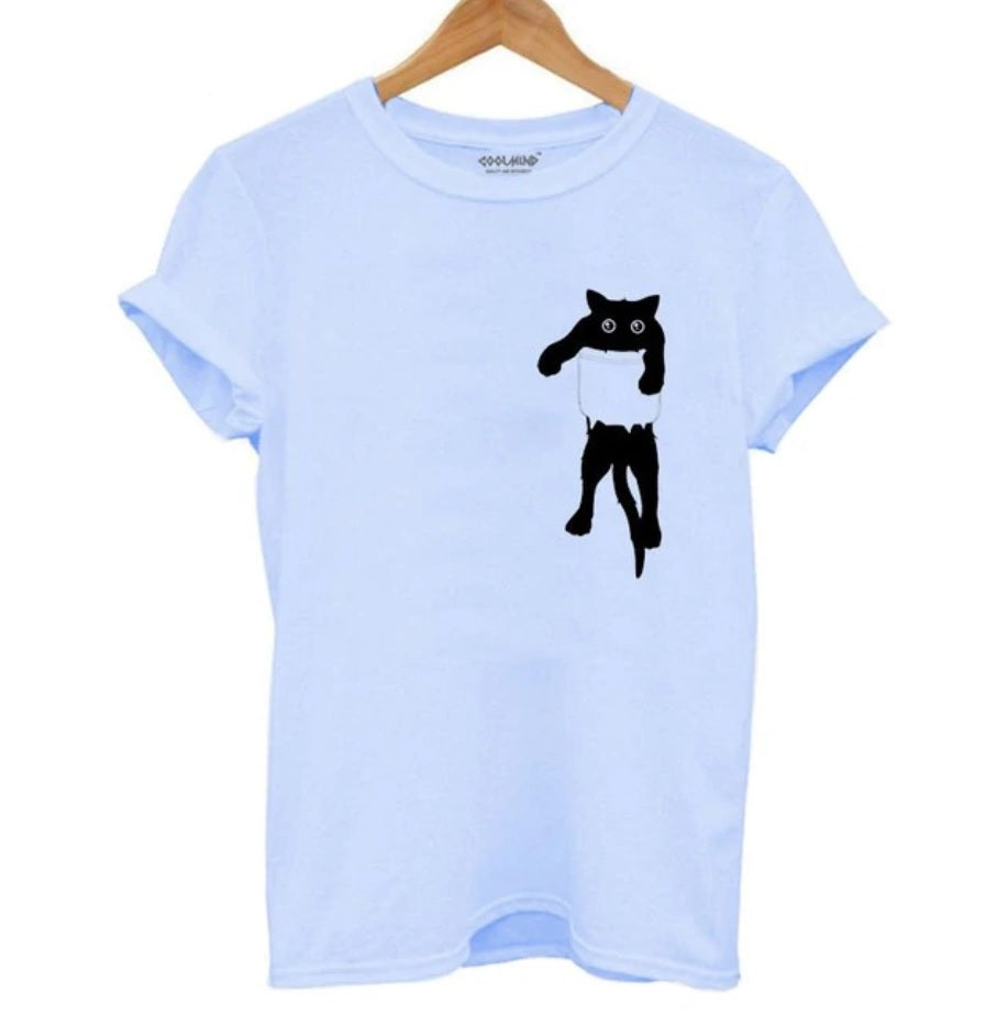100% Cotton, breathable and comfy Blue Tee with Black cat in Pocket Tee