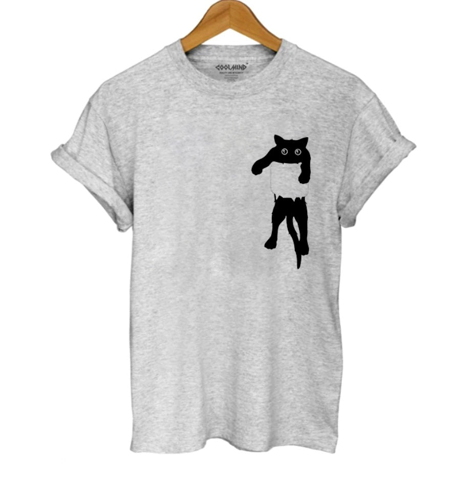 100% Cotton, breathable and comfy Gray Tee with Black cat in Pocket Tee