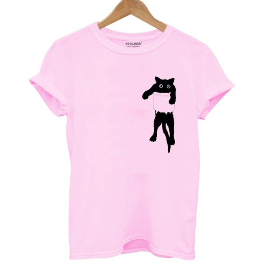 100% Cotton, breathable and comfy Pink Tee with Black cat in Pocket Tee