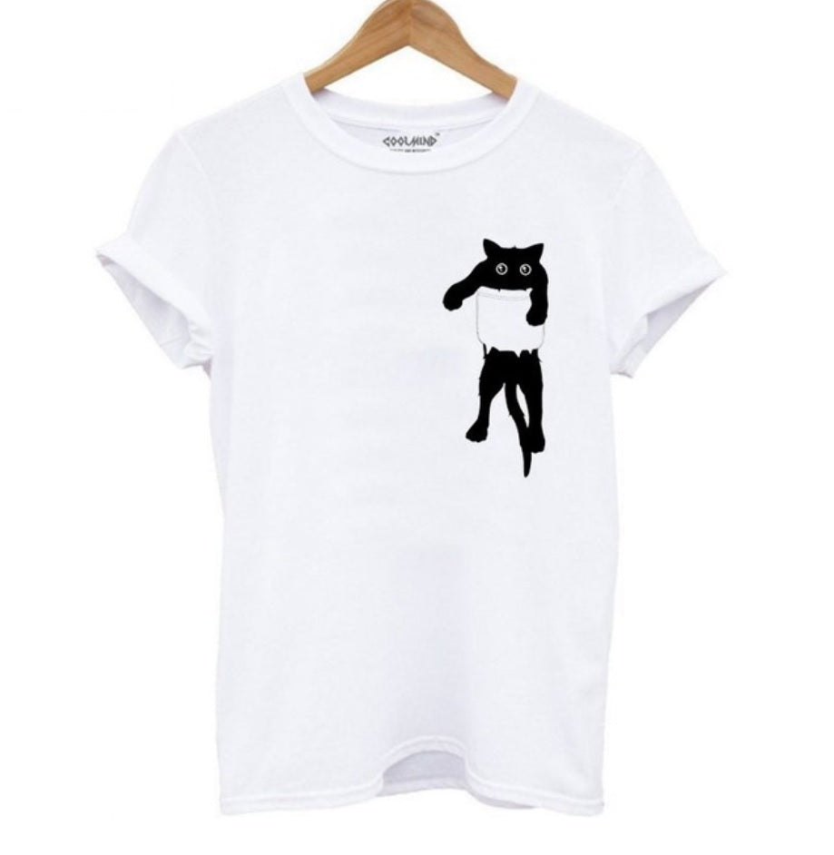 100% Cotton, breathable and comfy White Tee with Black cat in Pocket Tee